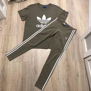 6d3a54c9850 adidas Pants | Olive Green 3 Stripe Leggings Tshirt Set | Poshmark